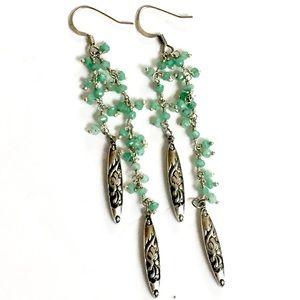 Green stone silver dangle earrings
